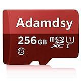 Adamdsy Carte Micro SD 256 Go Classe 10 + Adaptateur SD Idéal pour Utilisation dans Les appareils Photo, tablettes et Smartphones Android(D158-SZ) (256 Go)