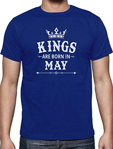 Geschenk T-Shirt für den Mann - Kings are born in Mai T-Shirt Blau