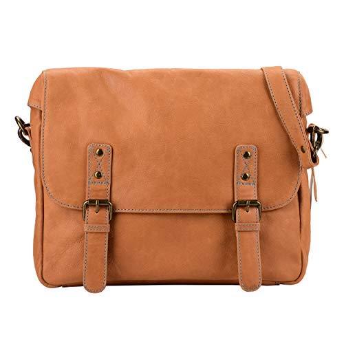 Mandava DIB755 Laptoptasche, 30,5 cm, handgefertigt, Leder, für Herren und Damen, mit Klappe über Büro, Aktentasche, Umhängetasche, Schultasche, Hellbraun - Klappe Über Leder