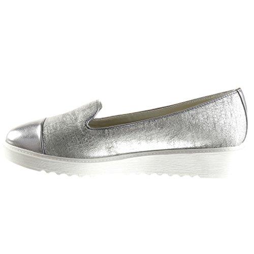 Angkorly Chaussures Mode Mocassins Bi-matière Femme Peau De Serpent Tressé Brillant Talons Coin Plate-forme 3 Cm Argent