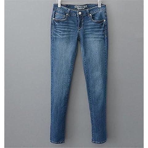 ZYQYJGF Destruir A Largo Botón Suelta Color Sólido Jeans Casuales Mujer Pants Pocket Slim Clásico Azul Denim Stretch