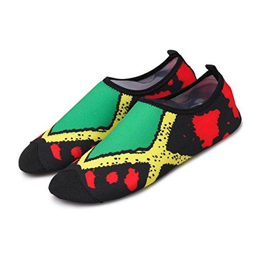 UFACE Paar Füße Yoga Schuhe Schwimmen Schuhe Quick-Dry Wasser Socken Schwimmen Surf Yoga Sport Haut Schuhe (36, Grün-3)