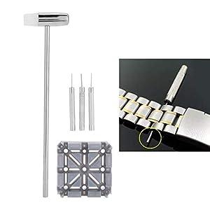 Removedor de eslabones de la correa de la correa del reloj, con los punzones de los pasadores del martillo perforador, para la reparación del reloj