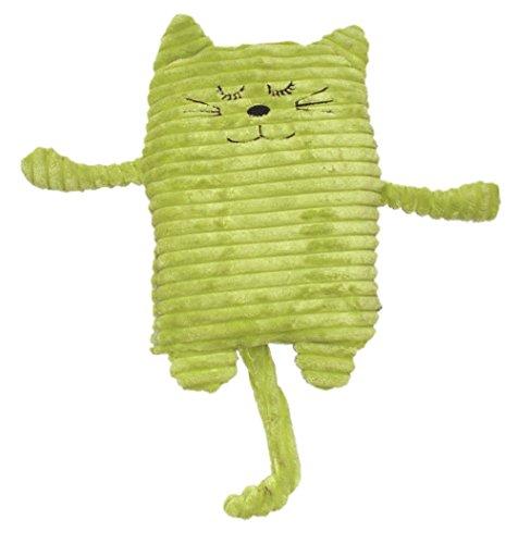 Inware 8718 - Peluche Chat, vert, 17 x 26 cm, pour le chauffage au micro-ondes, remplissage amovible