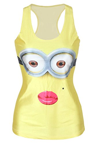 n Lip Print Tank Weste Top Sommer-Tops Club Wear Kleidung one size passt 8–12 (Minion Passt)