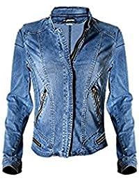 Dreamskull Jeans Jacke Jacket Mantel Denim Langärmelige Jeansjacke  Übergangsjacke Reißverschluss Rundkragen Kurz Herbst Stretch Slim Fit… 4671d6391a