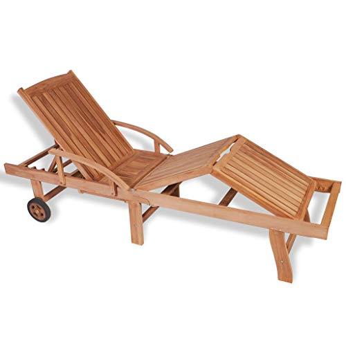 yorten Sonnenliege Liege Gartenliege 5 Positionen verstellbar verfügt über 2 Rollen Teak verzinkter Stahl 195 x 59,5 x 35 cm Braun