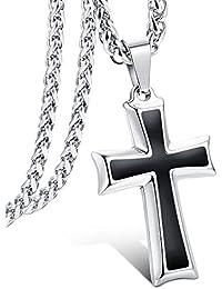 4a4b1e9afca8 LOLIAS Collar con colgante de cruz de acero inoxidable para hombres y  mujeres