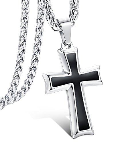 LOLIAS Collar Cruz para Hombres Mujeres Colgante Cruz Collar Cadena Religiosa Joyería de Moda, 61cm