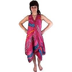 Guru-Shop, Tunikakleid DB 18 de Color Rosa, Violeta, Algodón, Tamaño:S (36), Vestidos Midi