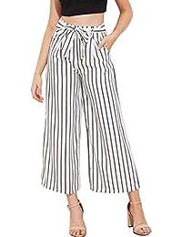 a112360bc8 Donna Pantaloni Baggy Eleganti Allentato Stripe Estivi Fashion Pantaloni  Sciolto Abbigliamento Festivo Accogliente High Waist Pantaloni