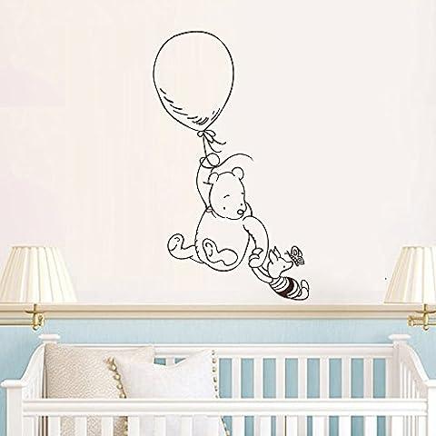 Adesivo da parete decorazione Winnie the Pooh Wall Decal Sticker- Winnie the Pooh Pimpi Nursery da parete per cameretta in vinile Wall Art Decor (Grigio Scuro, 30