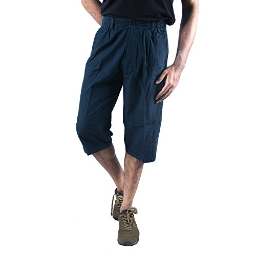 0-Degree Men Shorts 3by4 knee length Three Fourth Capri Men Chinos Cotton Bermuda 34 Blue [Apparel] ( 3by4Blue34 )