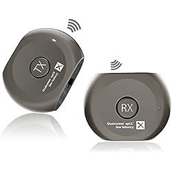 Avantree Transmetteur et Récepteur Bluetooth Pré-appairé aptX Low Latency (Faible Latence) pour TV et Casque Audio / Enceintes, Regarder la TV sans DÉLAIS Audio/vidéo - Lock Set
