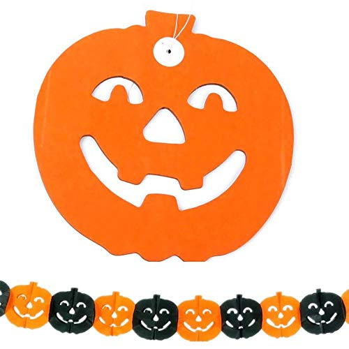 Halloween Girlande Kürbis - Papier - 3 Meter - Orange/Schwarz - Dekoration Party