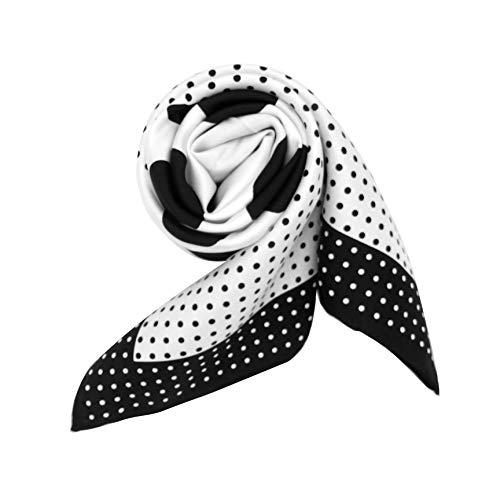 l Damen Schal Seide au 100% Seidentwill hochwertiger Tupfen Punkte Polka Dot - Schwarz Weiß ()