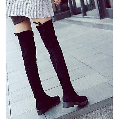 RTRY Scarpe da donna in pelle di Nappa inverno stivali moda Slouch Stivali Stivali tacco Chunky Thigh-High scarponi per Casual Nero Nero Us6 / EU36 / UK4 / CN36 US8 / EU39 / UK6 / CN39
