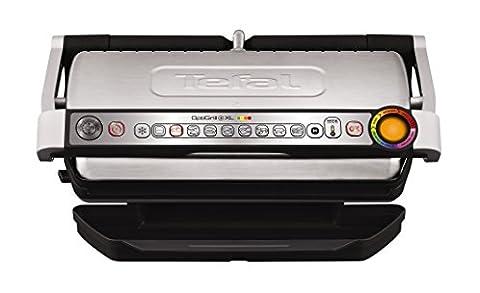 Tefal GC722D Optigrill plus XL, Plus-Modell mit zusätzlichen Temperaturstufen und XL-Grillfläche, 2000 W, automatische Anzeige des Garzustandes, 9 voreingestellte Grillprogramme, schwarz/silber