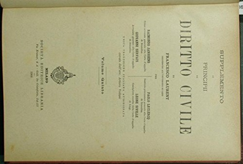 Supplemento ai Principi di diritto civile di Francesco Laurent. Vol. V