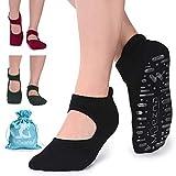 Muezna Yoga Socken Rutschfest Damen Fitness Pilates Socken für Barre, Studio, Bikram, Ballett,Gym, Tanz (Schwarz Graue Rose)