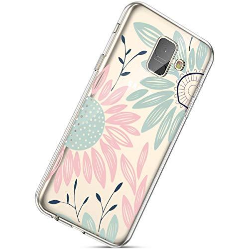 Handyhülle Samsung Galaxy A8 2018 Schutzhülle Transparent Weiche Silikon Durchsichtig Schutzhülle Muster Crystal Silikonhülle Ultradünnen TPU Handy Tasche Stoßfest Bumper Case,Sonnenblume