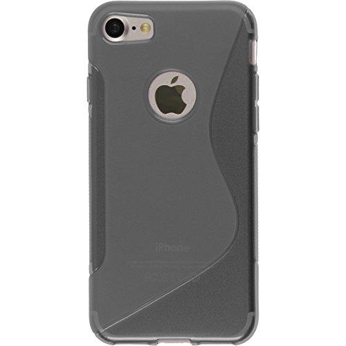 PhoneNatic Case für Apple iPhone 8 Hülle Silikon schwarz S-Style Cover iPhone 8 Tasche + 2 Schutzfolien Grau