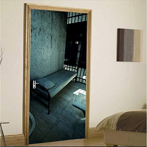 Preisvergleich Produktbild xxsongue Prison Room 3D Door Stickers Creative Wall Door Stickers Bedroom Decor Living Room Home Mural Poster Decoration