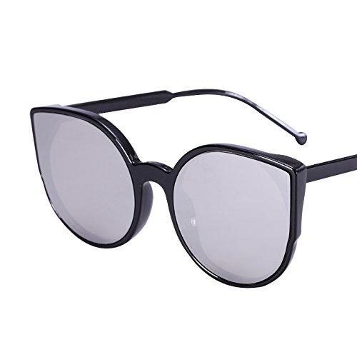 LXKMTYJ Sepia Cat's Eye Sonnenbrille Cat Ear runde Sonnenbrille Ebene bunte Sonnenbrille, silber verspiegelt