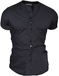 D&R Fashion Men's Shirt With Short Sleeve and Decorative Loops