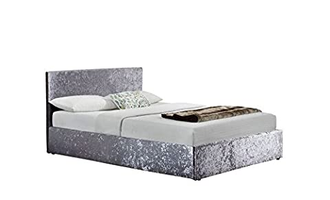 Happy Beds Berlin Steel Crushed Velvet Fabric Ottoman Storage Bed Frame 4'6'' Double 135 x 190 cm