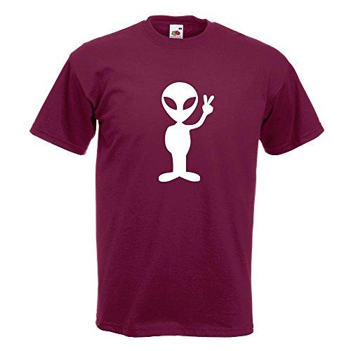 KIWISTAR - Alien Peace T-Shirt in 15 verschiedenen Farben - Herren Funshirt bedruckt Design Sprüche Spruch Motive Oberteil Baumwolle Print Größe S M L XL XXL Burgund