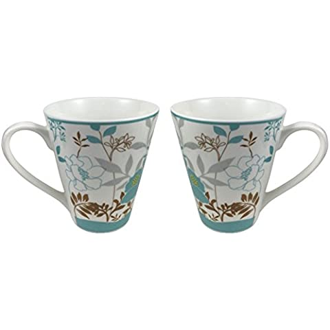 COFFEE MUGS MAGNIFICENT CERAMIC TEA and HOT CHOCOLATE MUG Unique Design Cool Style Decorated with Flowers Beautiful Set of 2 Cups Each Holding 12 Oz Ideal for Any Hot or Cold Beverage Morning Cup by Magnificent Home