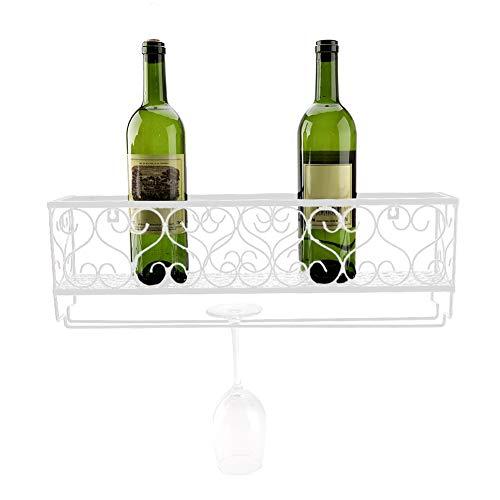 Zerone Weinregal mit Glashalter,Wandhalterung aus Metall für Flaschen aus Champagnerglas, Gestell für Gestellhalterung, Gestell schwarz (Mittel, Weiß)