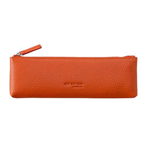 CHI CHI FAN Pencil Bag - Orange | Etui aus echtem Leder | Top Qualität und Design treffen auf maximale Funktion | Schutz, Ordnung und viel Platz für Stifte, Füller und sonstige Schreibutensilien