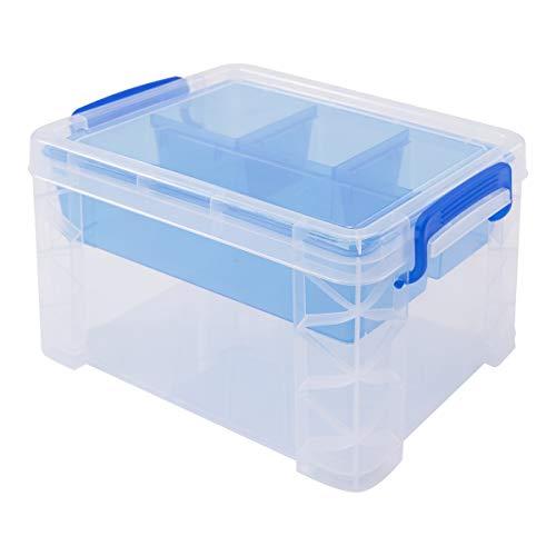 Snap-deckel (Super Stacker geteilten Aufbewahrungsbox mit abnehmbaren Tablett, 25,7x 16,5x 19,1cm transparent mit blauen Griffen, Snap Deckel (37375))