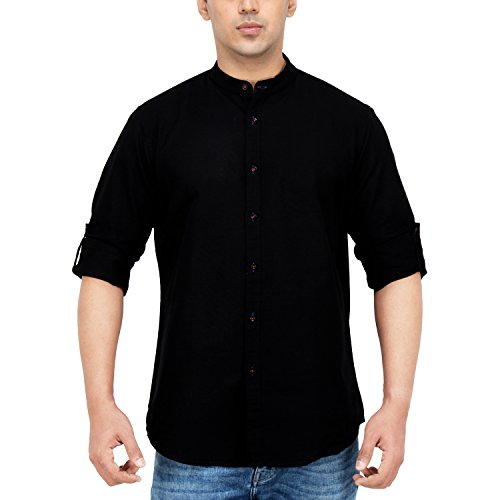 Dennis-Lingo-Mens-Solid-Casual-Full-Sleeves-Slim-fit-Black-Cotton-Shirt