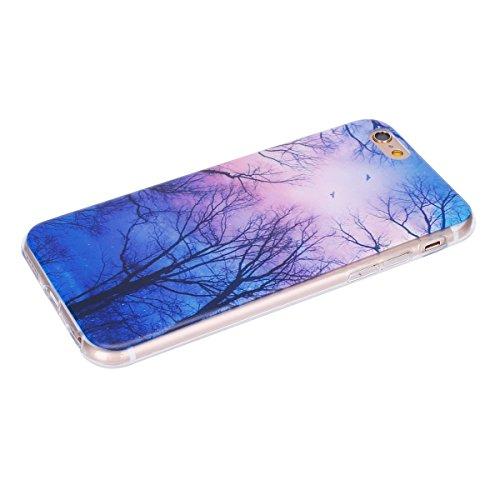 Coque pour iPhone 6 6S, Etui pour iPhone 6 6S, ISAKEN Peinture Style Transparente Ultra Mince Souple TPU Silicone Etui Housse de Protection Coque Étui Case Cover pour Apple iPhone 6 6S 4.7 Pouce (Guit Nuit Arbre