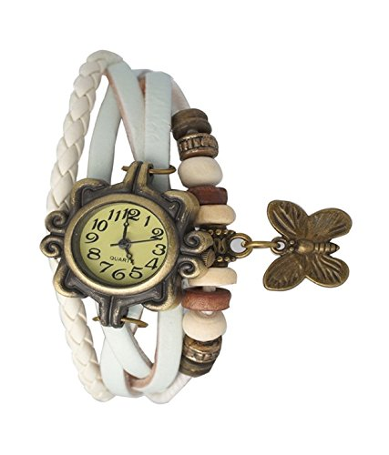 Hinayat Fashion Unique Designer Vintage Leather White Butterfly Bracelet Watch For Girls And Women