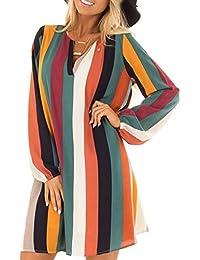 9fc7c99a130c Affeco donna scollo a V vestito arcobaleno Stripe stampa manica lunga  abbigliamento