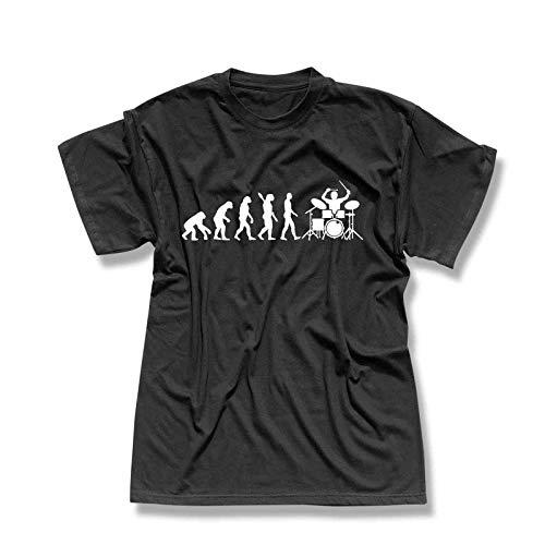 T-Shirt Evolution Drummer Schlagzeug Tama Pearl Gretsch Evo Yamaha Ludwig Roland Remo Band Musik Musiker 13 Farben Herren XS-5XL, Größe:3XL, Farbe:schwarz - Logo Weiss (Roland Musik)
