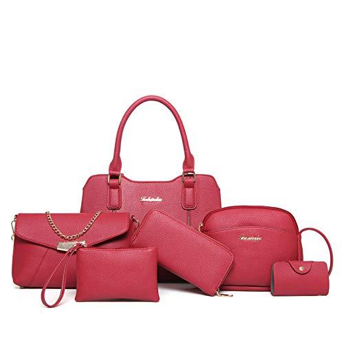 Ailihan Handtasche Damentasche Pakete Schulter schräge Tasche Big-Bag Handtasche 6 teiliges Set
