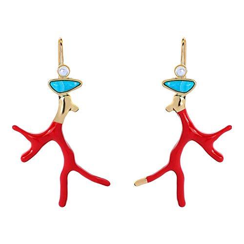 Reiko Glasiert Koralle Haken Ohrringe Legierung Baumeln Jahrgang Quaste Mode Ohrringe,Geschenk Für Frauen Mädchen,Geschenkbox