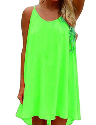 Shinekoo® Femmes d'été sans Manches En Mousseline De Soie Robe De Plage En Mousseline De Soie green