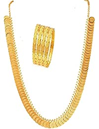 J S Imitation Long Traditional Maharani Temple Coin Necklace Set With Laxmi Coin Bangles