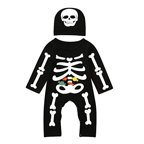 Kostüm Combat Boots - Oyedens (6-24M) Skelett Kostüm Kinder, Neugeborenes Baby Mädchen Halloween Kostüme Kinder Bone Print Strampler + Hut Set Outfits