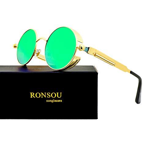 RONSOU Steampunk Stil Rund Vintage Polarisiert Sonnenbrillen Retro Brillen UV400 Schutz Metall Rahmen gold rahmen/grün linse