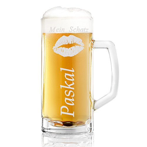 Bierkrug mit Gravur eines Namens – Bierseidel Motiv Kussmund 0,5l