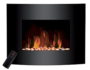 Sentik Large 2kW Black Glass Screen Wall Mounted Electric Fire Fireplace