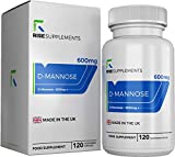 Rise Supplements D-Mannose – 1.200 mg pro Portion | 120 vegetarische Kapseln | Hergestellt in ISO-zertifizierten Betrieben in GB – Geeignet für Vegetarier und Veganer (1 Flasche)