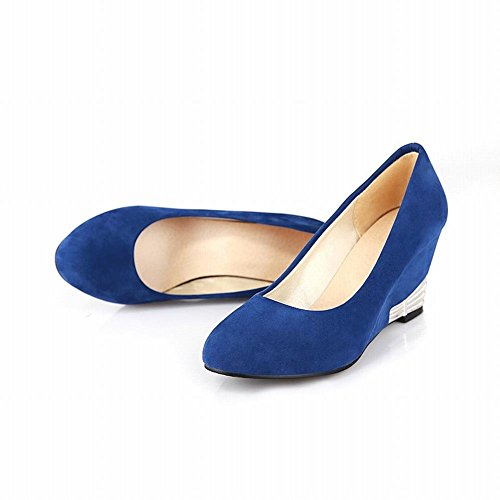Mee Shoes Damen modern speziell bequem Keilabsatz Nubukleder Geschlossen runder toe Pumps Blau